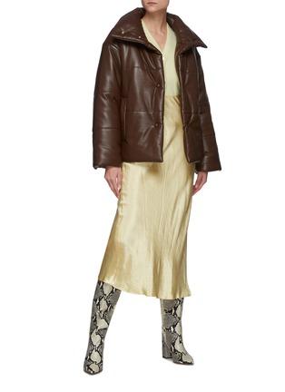 Figure View - Click To Enlarge - NANUSHKA - Funnel Collar Vegan Leather Puffer Jacket