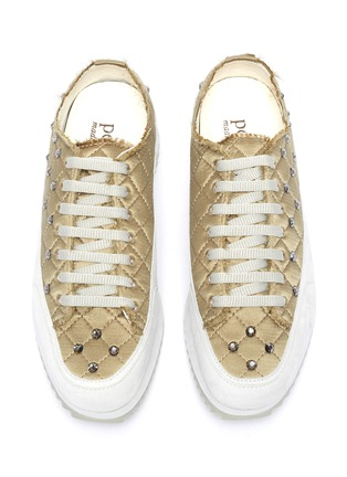 Detail View - Click To Enlarge - PEDRO GARCÍA - Opal' Crystal Embellished Fray Edge Quilted Satin Platform Sneakers