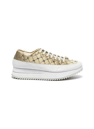Main View - Click To Enlarge - PEDRO GARCÍA - Opal' Crystal Embellished Fray Edge Quilted Satin Platform Sneakers