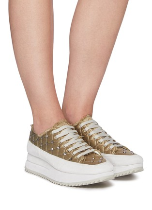Figure View - Click To Enlarge - PEDRO GARCÍA - Opal' Crystal Embellished Fray Edge Quilted Satin Platform Sneakers