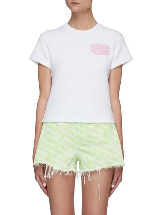 Main View - Click To Enlarge - ALEXANDERWANG - Logo Embossed Soap Appliqué Cotton Blend T-shirt