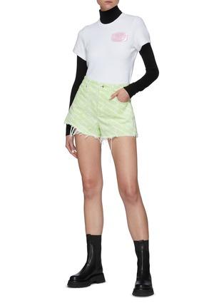 Figure View - Click To Enlarge - ALEXANDERWANG - Logo Embossed Soap Appliqué Cotton Blend T-shirt