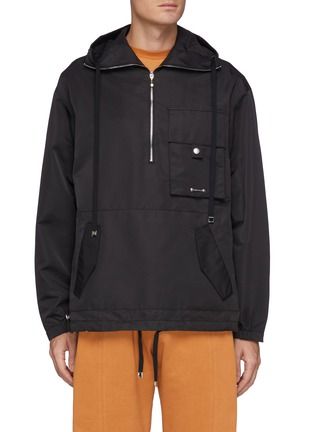 Main View - Click To Enlarge - PRIVATE POLICY - Back Harness Detail Front Pocket Anorak Jacket