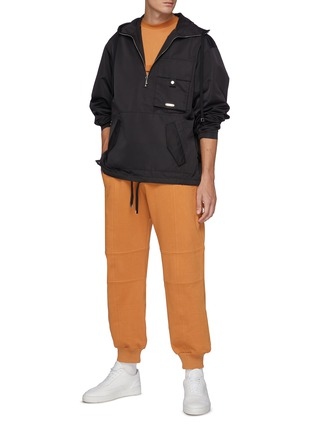 Figure View - Click To Enlarge - PRIVATE POLICY - Back Harness Detail Front Pocket Anorak Jacket