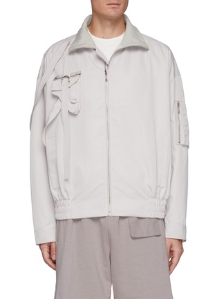 Main View - Click To Enlarge - PRIVATE POLICY - Gun Pouch Flap Pocket Harness Detail Overlay Bomber Jacket