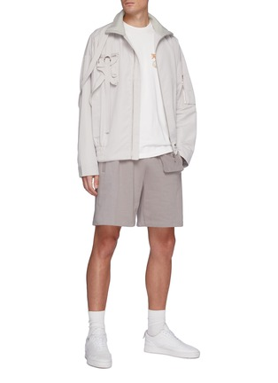 Figure View - Click To Enlarge - PRIVATE POLICY - Gun Pouch Flap Pocket Harness Detail Overlay Bomber Jacket