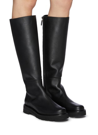 Figure View - Click To Enlarge - STUART WEITZMAN - Mila Lift' Almond Toe Leather Knee-high Boots
