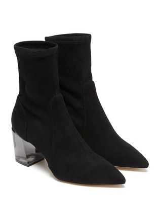 Detail View - Click To Enlarge - STUART WEITZMAN - Loulou' Translucent Block Heel Suede Ankle Boots