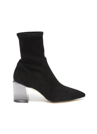 Main View - Click To Enlarge - STUART WEITZMAN - Loulou' Translucent Block Heel Suede Ankle Boots