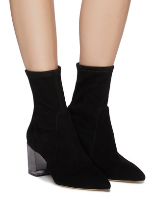 Figure View - Click To Enlarge - STUART WEITZMAN - Loulou' Translucent Block Heel Suede Ankle Boots