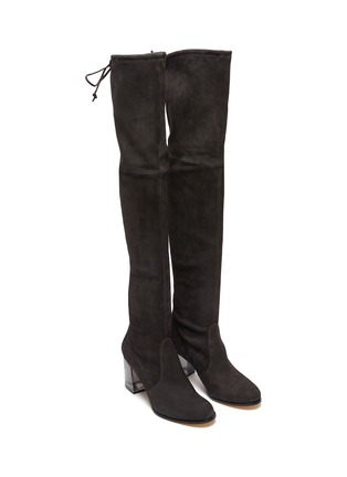 Detail View - Click To Enlarge - STUART WEITZMAN - Loulou' Translucent Block Heel Suede Thigh-high Boots