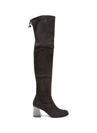 Main View - Click To Enlarge - STUART WEITZMAN - Loulou' Translucent Block Heel Suede Thigh-high Boots