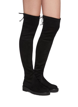 Figure View - Click To Enlarge - STUART WEITZMAN - Lowland Lift' Thigh-high Flatform Suede Boots