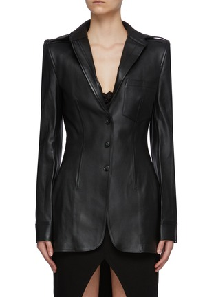 Main View - Click To Enlarge - ALEXANDERWANG - Sculpted Elongated Calf Leather Blazer