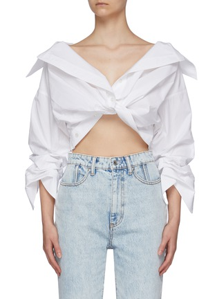 Main View - Click To Enlarge - ALEXANDERWANG - Cropped Twist Front Shirt