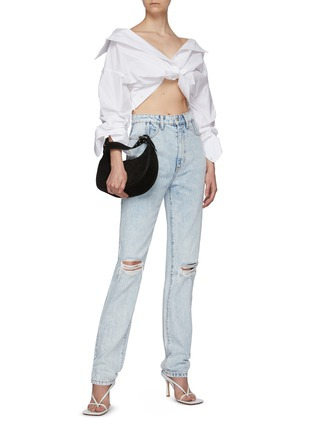 Figure View - Click To Enlarge - ALEXANDERWANG - Cropped Twist Front Shirt