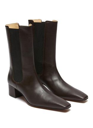 Detail View - Click To Enlarge - NANUSHKA - 'Vika' Square Toe Heeled Vegan Leather Ankle Boots