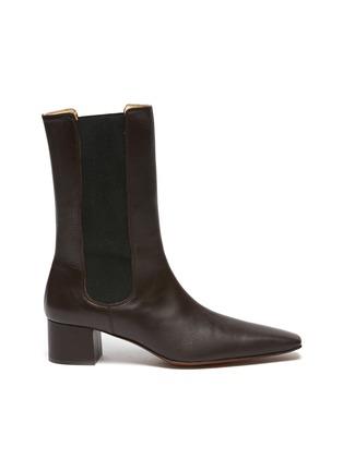 Main View - Click To Enlarge - NANUSHKA - 'Vika' Square Toe Heeled Vegan Leather Ankle Boots