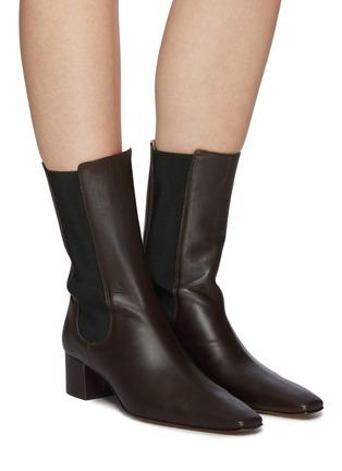Figure View - Click To Enlarge - NANUSHKA - 'Vika' Square Toe Heeled Vegan Leather Ankle Boots