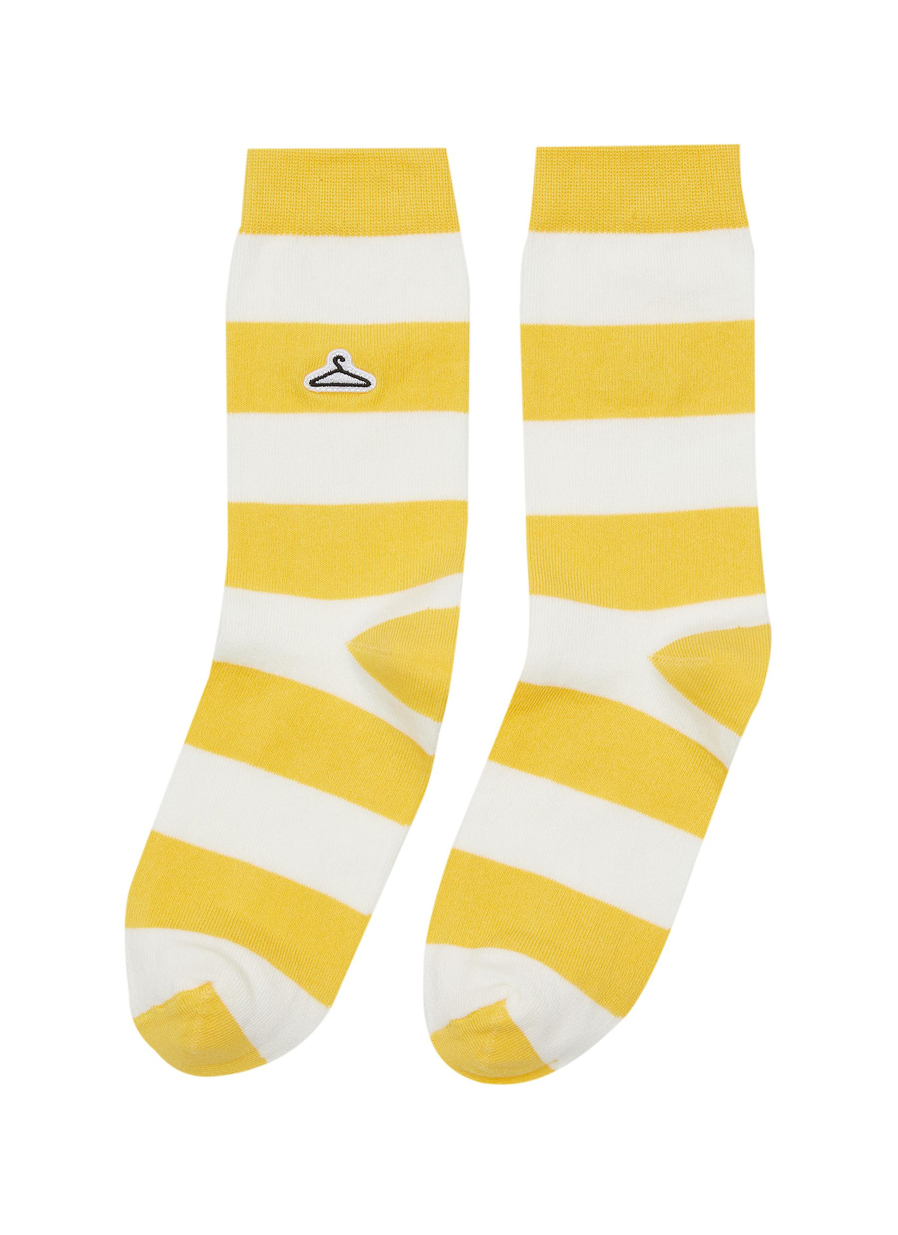 Hanger Motif Embroidered Stripe Cotton Blend Socks