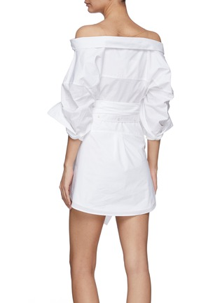 Back View - Click To Enlarge - ALEXANDERWANG - Wrap Front Off Shoulder Shirt Dress