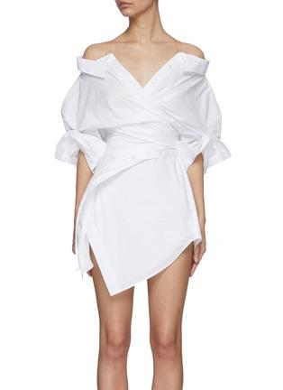 Main View - Click To Enlarge - ALEXANDERWANG - Wrap Front Off Shoulder Shirt Dress