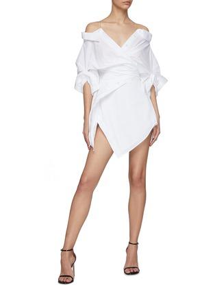Figure View - Click To Enlarge - ALEXANDERWANG - Wrap Front Off Shoulder Shirt Dress