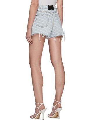 Back View - Click To Enlarge - ALEXANDERWANG - Logo Print Rip Denim Shorts