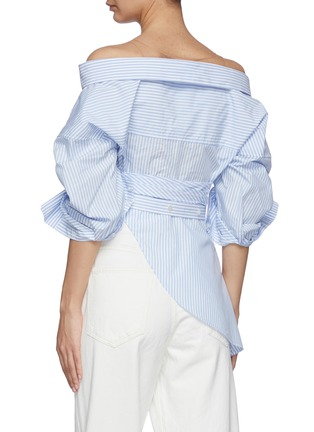 Back View - Click To Enlarge - ALEXANDERWANG - Wrap Front Deconstructed Shirt Top
