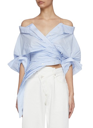 Main View - Click To Enlarge - ALEXANDERWANG - Wrap Front Deconstructed Shirt Top