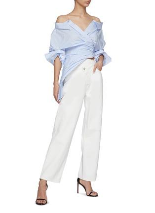 Figure View - Click To Enlarge - ALEXANDERWANG - Wrap Front Deconstructed Shirt Top
