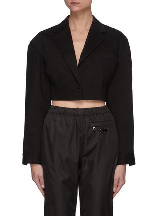 Main View - Click To Enlarge - ALEXANDERWANG.T - Black Denim Drop Shoulder Cropped Blazer