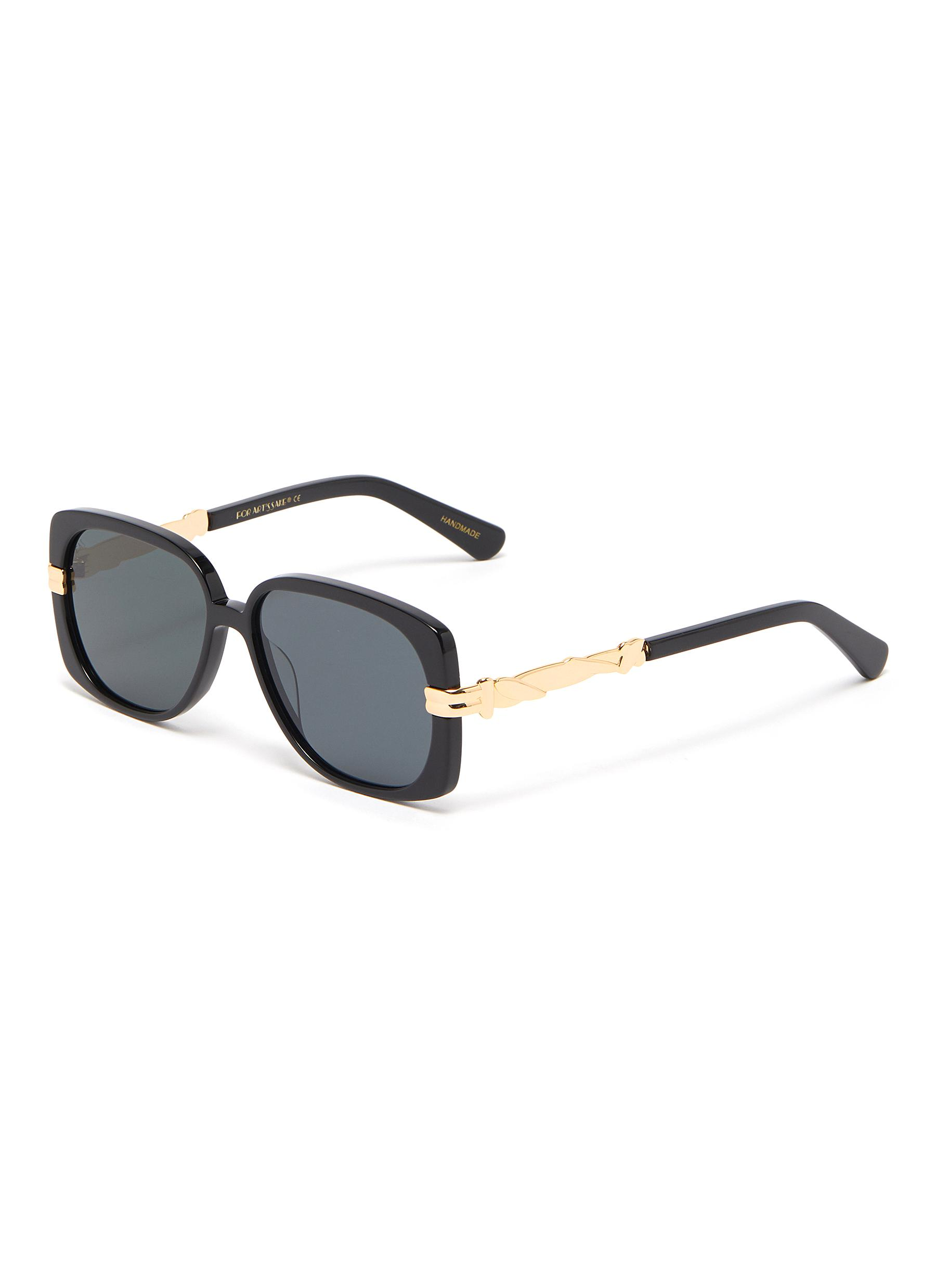 Icon' Rope-effect Metal Temple Acetate D-Frame Sunglasses