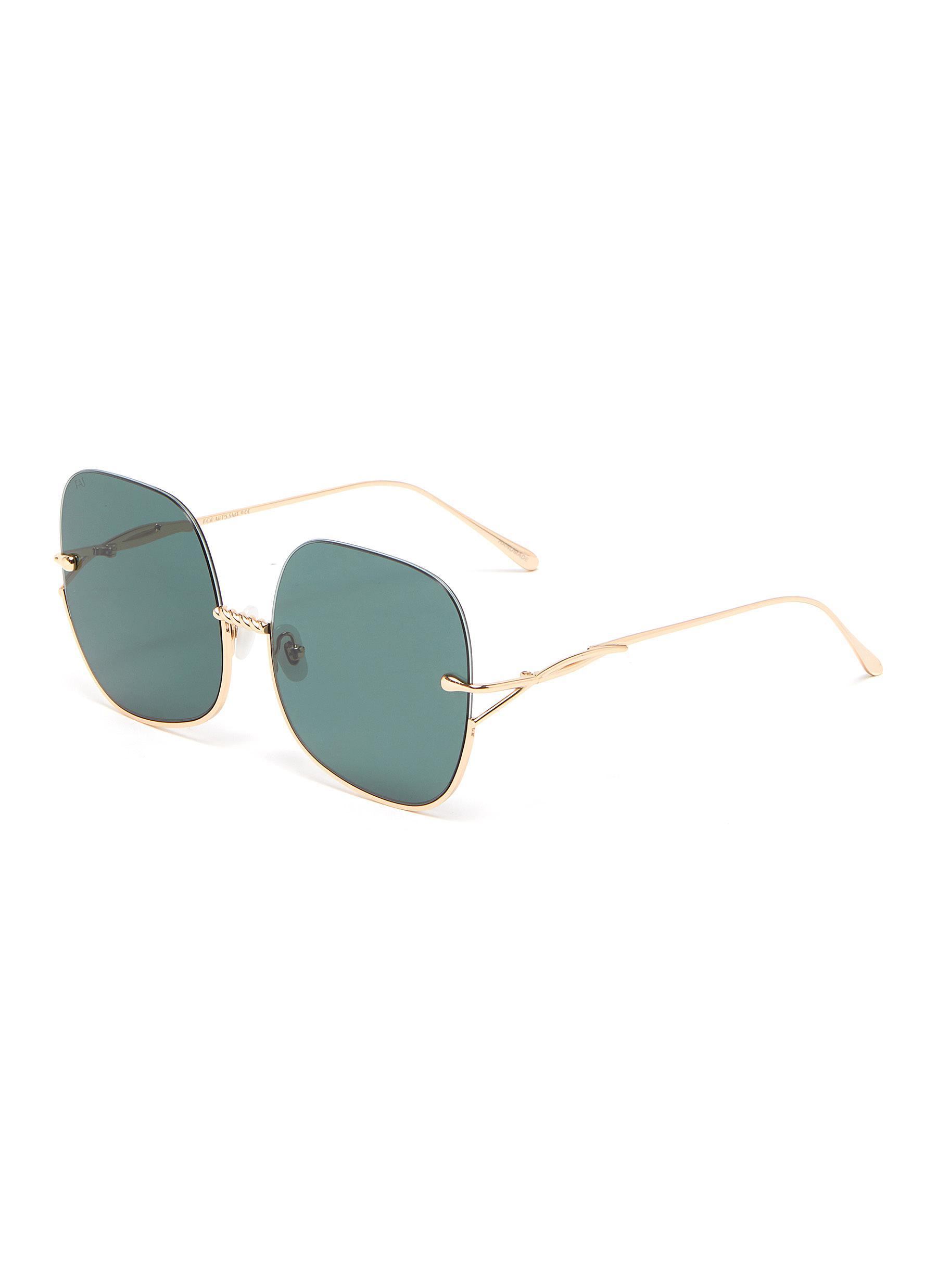 Duchess' 12k Gold Plated Half Square Frame Oversized Sunglasses