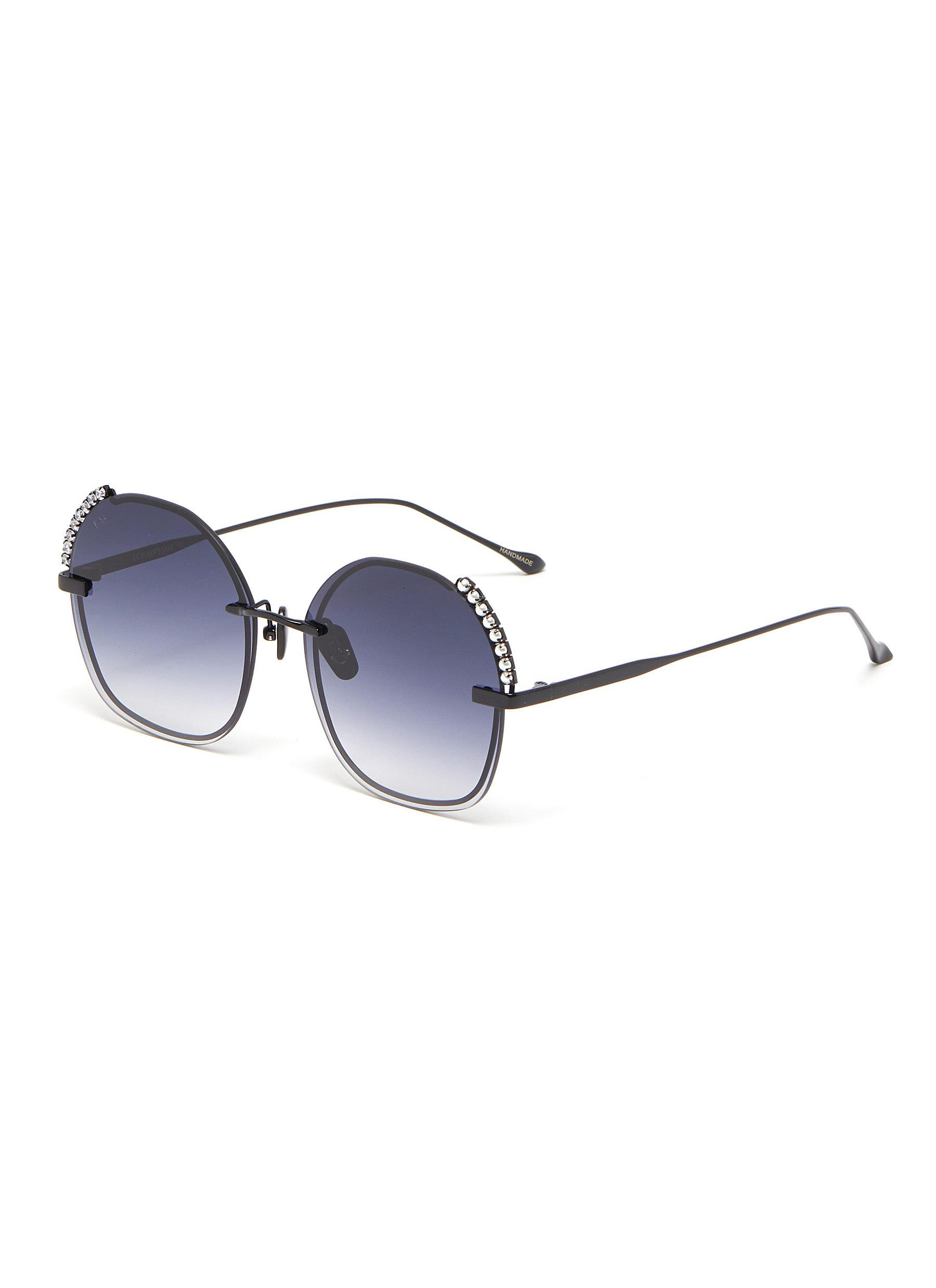 Dazzle' Stone and Faux Pearl Embellished Round Acetate Frame Sunglasses