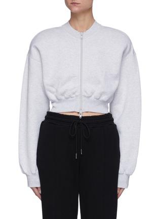 Main View - Click To Enlarge - ALEXANDERWANG.T - Zip Up Slim Waist Cotton Sweatshirt