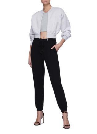 Figure View - Click To Enlarge - ALEXANDERWANG.T - Zip Up Slim Waist Cotton Sweatshirt