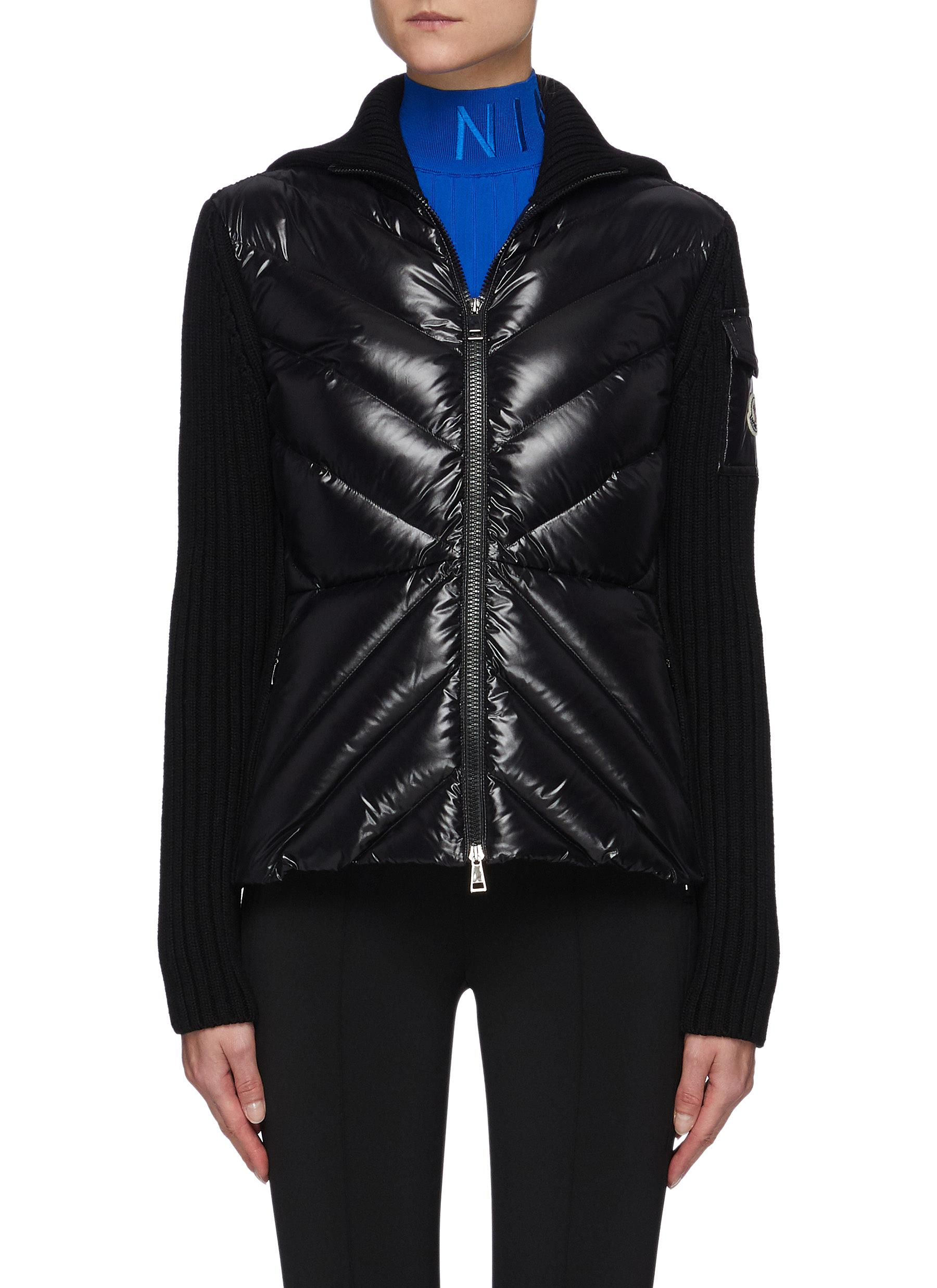 Quilted Front Wool Knit Cardigan Jacket