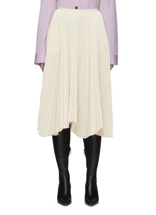 Main View - Click To Enlarge - JIL SANDER - Asymmetric Sunray Pleated Midi Skirt