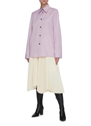 Figure View - Click To Enlarge - JIL SANDER - Asymmetric Sunray Pleated Midi Skirt