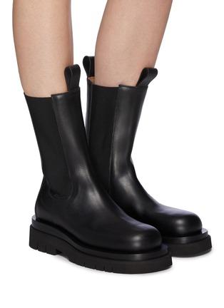Figure View - Click To Enlarge - BOTTEGA VENETA - Platform Lug Sole Leather Chelsea Boots