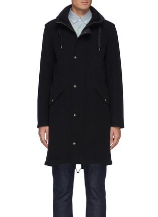 Main View - Click To Enlarge - HERNO - Fixed Hood Herno-Tech Melton Wool Parka
