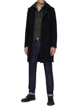 Figure View - Click To Enlarge - HERNO - Fixed Hood Herno-Tech Melton Wool Parka