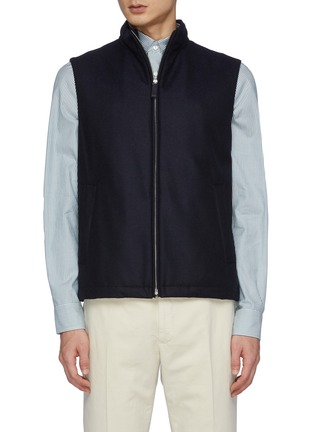 Main View - Click To Enlarge - HERNO - Zipped Stand Collar Cashmere Virgin Wool Blend Vest