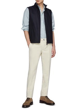 Figure View - Click To Enlarge - HERNO - Zipped Stand Collar Cashmere Virgin Wool Blend Vest