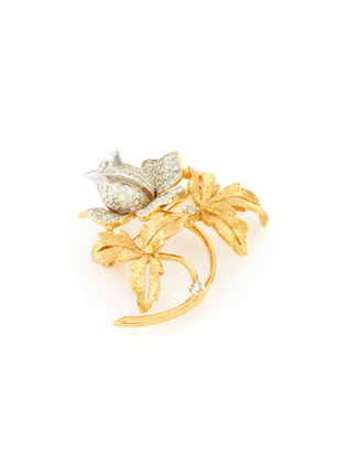 Detail View - Click To Enlarge - LANE CRAWFORD VINTAGE ACCESSORIES - Diamanté flower brooch