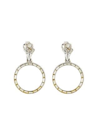 Main View - Click To Enlarge - LANE CRAWFORD VINTAGE ACCESSORIES - Trifari Baguette Set Diamanté Hoop Drop Earrings
