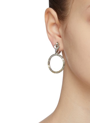 Figure View - Click To Enlarge - LANE CRAWFORD VINTAGE ACCESSORIES - Trifari Baguette Set Diamanté Hoop Drop Earrings
