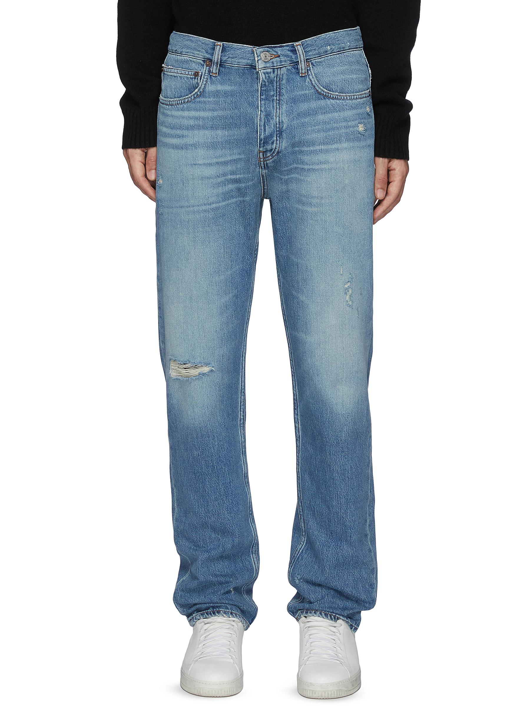 Vintage Distressed Straight Legged Med Wash Ripped Knee Jeans