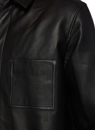 - FRAME DENIM - Leather Workwear Snap Button Jacket with Patch Pockets